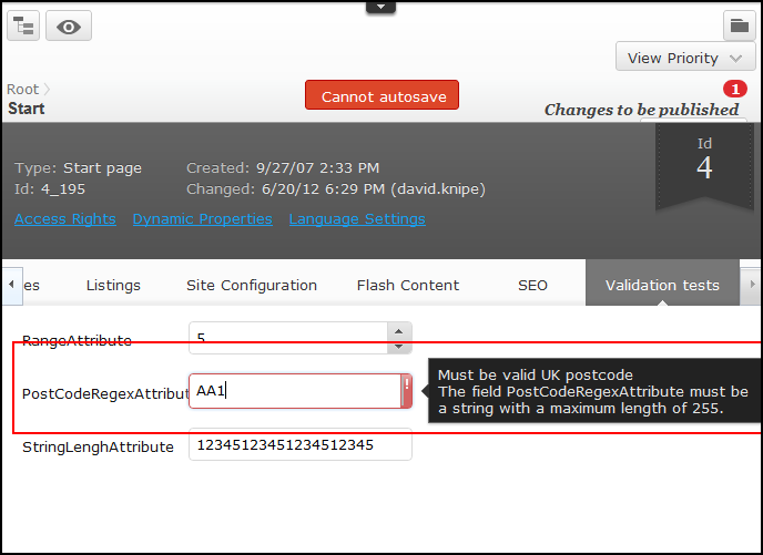 RegularExpression Validator in EPiServer 7